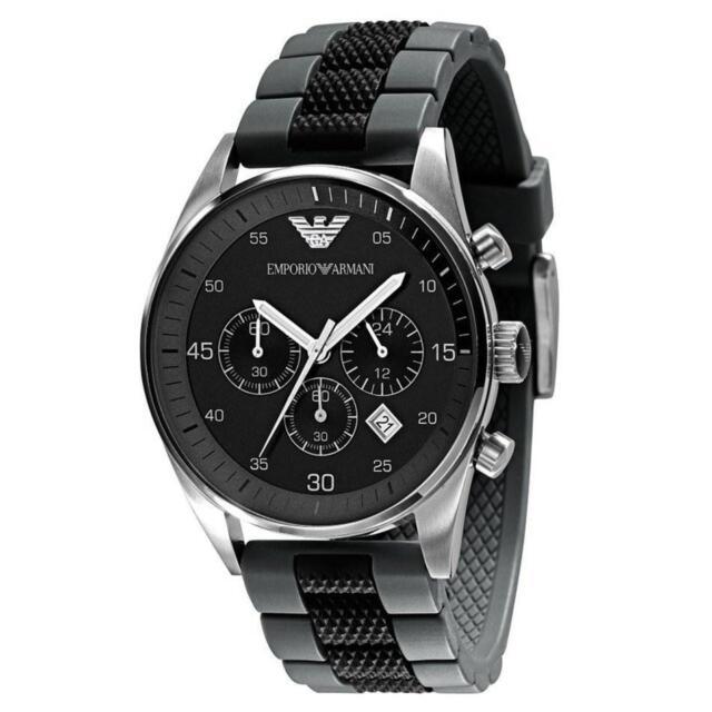 Emporio Armani AR5866 Black Grey Silicone Rubber Chronograph Dial Men's Watch