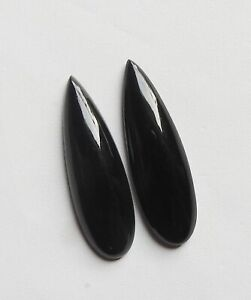 131 Cts Natural Black Onyx Pear Shape Cabochon Loose Gemstone Fabulous Quality Of Black Onyx Gemstone For Making Jewelry 62x39 mm SG 468