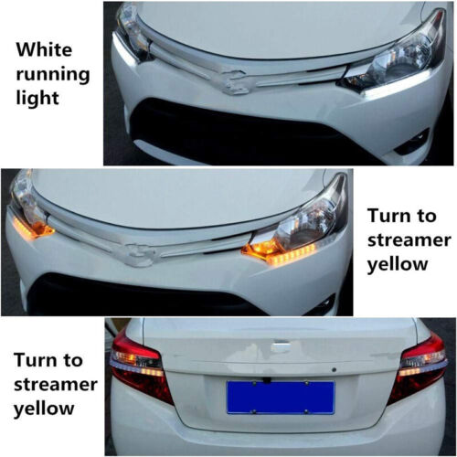 12 LED White//Amber Switchback Flexible Flow Turn Signal Arrow Flasher DRL Light