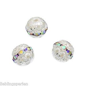 20-Metallperlen-Rondelle-Perlen-Ball-Beads-Strass-9x10mm