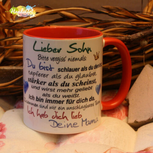 Tasse Lieber Sohn Deine Mama// Geschenk Kinder Weihnachten Valentinstag