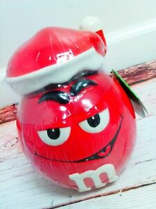 M-amp-M-039-s-Character-Santa-Ceramic-Holiday-Candy-Jar-with-Lid-Red