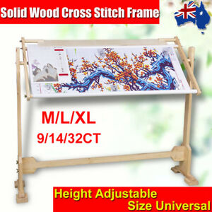 Cross-Stich-Tapestry-Floor-Stand-Wooded-Frames-Hoop-Embroidery-Gift-9-14-32CT-AU