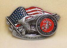 Belt Buckle United States Marine Corp American Hero EGA with US Flag and Eagle