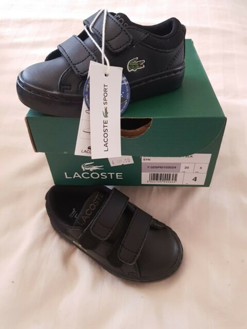 Lacoste Baby Black leather Trainers Size 4 BNWT