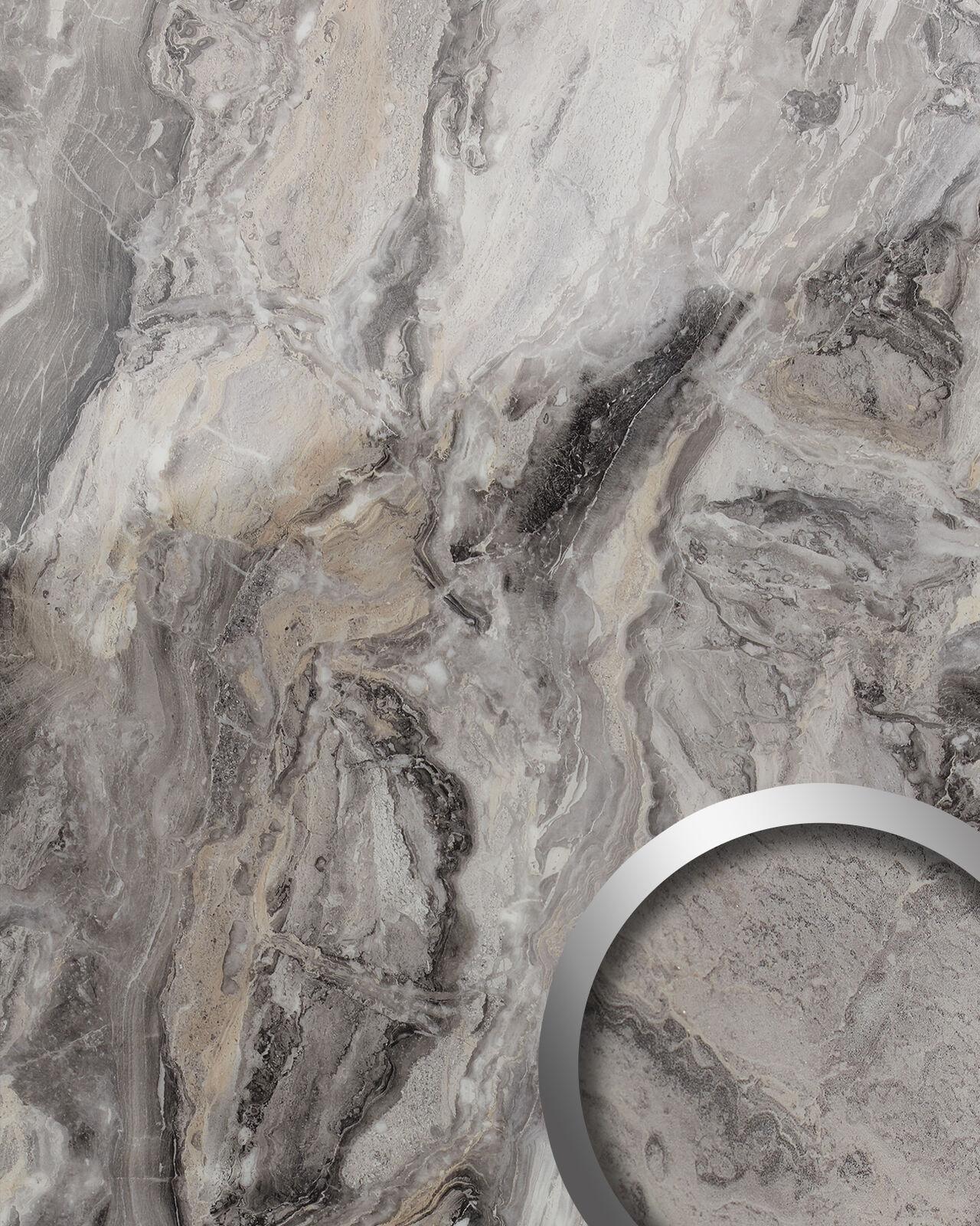 WallFace 19340 MARBLE ALPINE Wandverkleidung in Marmor Optik glänzend glänzend glänzend grau 2,6m2 223d29