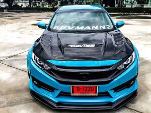 10th Gen Civic >> Details About Kevtec Carbon Fiber Hood Batman Style 10th Gen Civic Sedan Coupe Hatchback 16 17