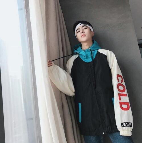 Embroidery Boys Korean Hop Autumn Jacket Hip Hooded Colorblock Student New Coat wACPqq