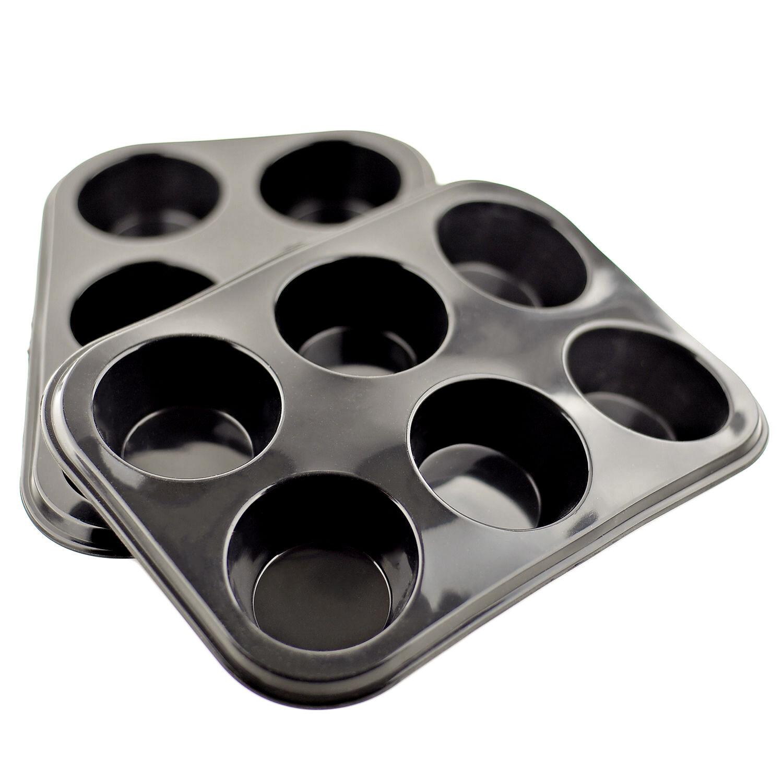 6 Cup Large Silicone Bun//Muffin Non Stick Tin Tray Baking Pudding Mold Black