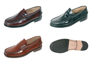 Men-039-s-Loafers-Shoes-Leather-Black-Oxblood-Brown-UK-Size-6-7-8-9-10-11-12-13-14