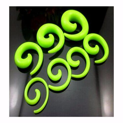 2 Piercing Oreille Plug Ecarteur Spiral Acrylic Taper Flesh Tunnel Ear Stretcher