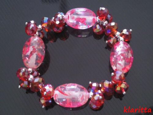 Printemps Été Décoration Rouge Ab Siam Cristal Chalumeau Bracelet Élastique B16