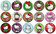 "HELLO KITTY CHRISTMAS - Lot of 15 Pin Back 1"" Buttons Badges (One Inch) – Set"