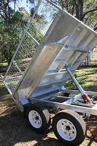 Galvanised-10x5-Tandem-2-Ton-Hydraulic-Tipper-Tipping-Box-Trailer-Trade-or-Farm