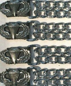 4 AIRBORNE MILITARY DIAMOND CUT CHROME CHAIN MOTORCYCLE VEST ...