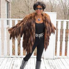 Rare Designer  Adrienne Landau Russian Sable Tails fur jacket Coat S-M 2-10