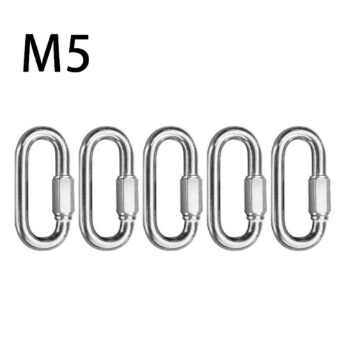 Stainless Steel Dog Leash D Ring Quick Link Screwgate Carabiner Keychain Hook