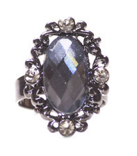 Recargado-Diamante & Blue Gem/Gun Metal frontera & Elástico Anillo De Mano (Zx261)