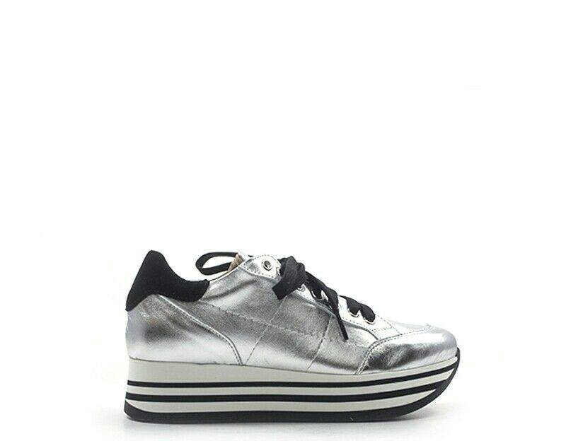HALFTONE shoes Women Sneakers Trendy Silver Natural Leather Shine-an