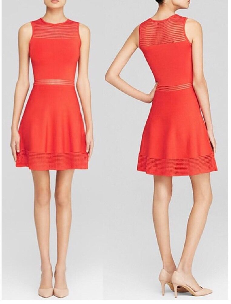 Ronny Kobo Vermillion Red Open Stitch Dress ,Size large NWT Retail