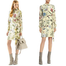 sz 40 XS NEW $1890 GUCCI Yellow KRIS KNIGHT FLORA Spring BELTED SHIRT DRESS NWT
