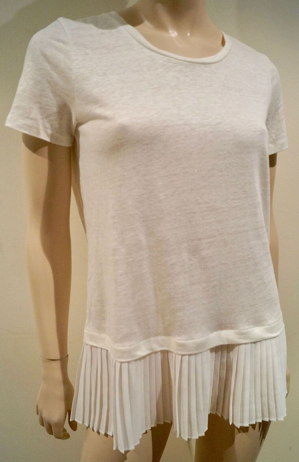 SANDRO Winter Weiß 100% Linen Short Sleeve Pleated Hemline Summer Top Sz: 2 M