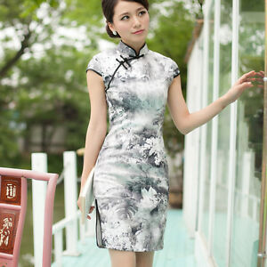 1b928ca8a Image is loading Women-mini-qipao-Chinese-traditional-wedding-dress-White-