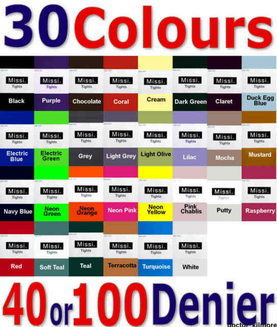 Missi Opaque Tights Panyhose 30 Bright & Neon Colours 40 or 100 Denier 36-42 Hip
