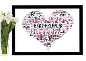image is loading best friends christmas gift heart word art print - Best Friends Christmas Gifts