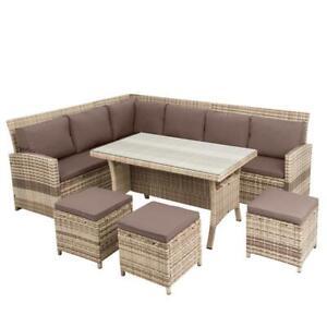Details zu Rattan Sitzgruppe Garten Lounge Möbel 20tlg Essgruppe  Gartenmöbel Set Sofa beige