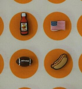 Crocs-Jibbitz-Charms-3D-Football-Hot-Sauce-Hot-Dog-USA-Flag-ALL-4-for-11-99