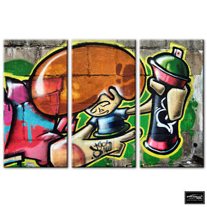 Graffiti-Urban-decay-Wall-street-BOX-FRAMED-CANVAS-ART-Picture-HDR-280gsm