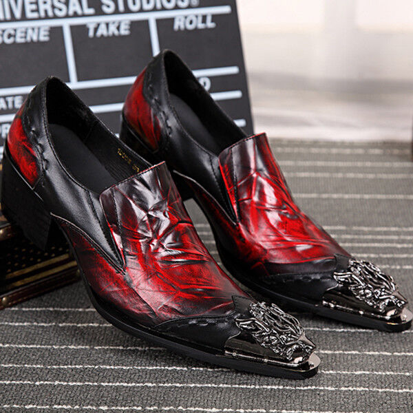 Punk Uomo Metal Pointed Toe Pelle Shoes Shoes Shoes Slip On Dress Shoes Formal British New 84b0f7