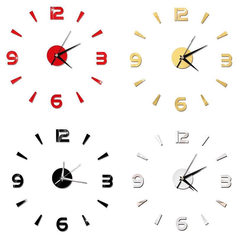 3D Large Wall Clock Frameless Mirror Number Sticker Modern Art Decal Decor UK 2