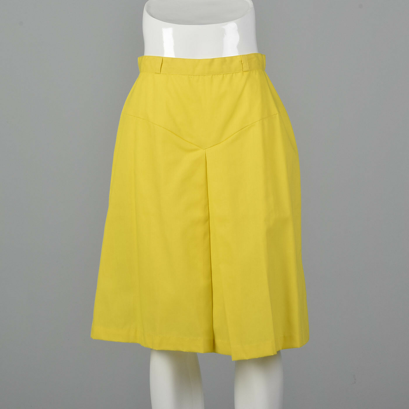 S 1960s Bright Yellow Mod Mini Skirt Cotton Separates Spring Summer Outfit 60s