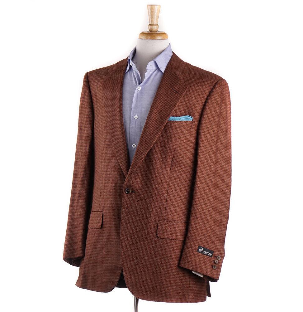 NWT  D'AVENZA Brown-orange Houndstooth Cashmere Sport Coat 42 R (Eu 52)