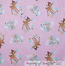 BonEful Fabric FQ Cotton Quilt Pink Disney Bambi Deer Thumper Gray Bunny Rabbit