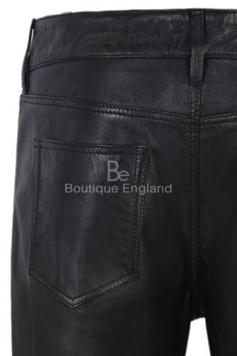 Ladies Leather Pant Black Biker Jeans Style Sweat Track Pant Real Lambskin 4532
