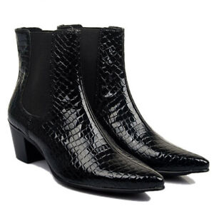 Mens-Chelsea-Boots-Leather-Formal-Pointed-Toe-Block-Mid-Heel-Shoes-Ankle-Booties