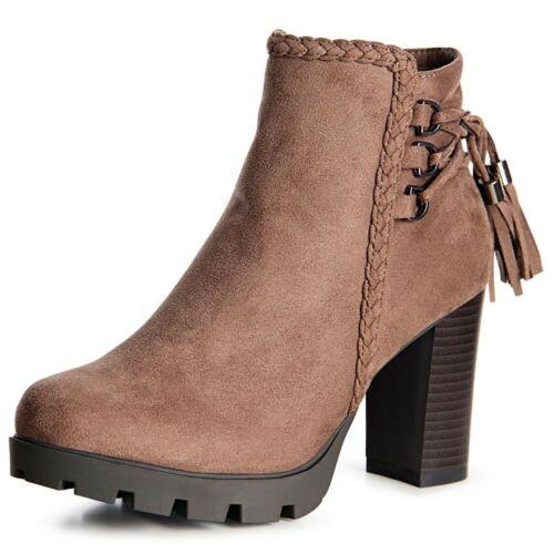 Damen Plateau Stiefeletten Ankle Boots Velours Pumps Stiefel Schleife Block