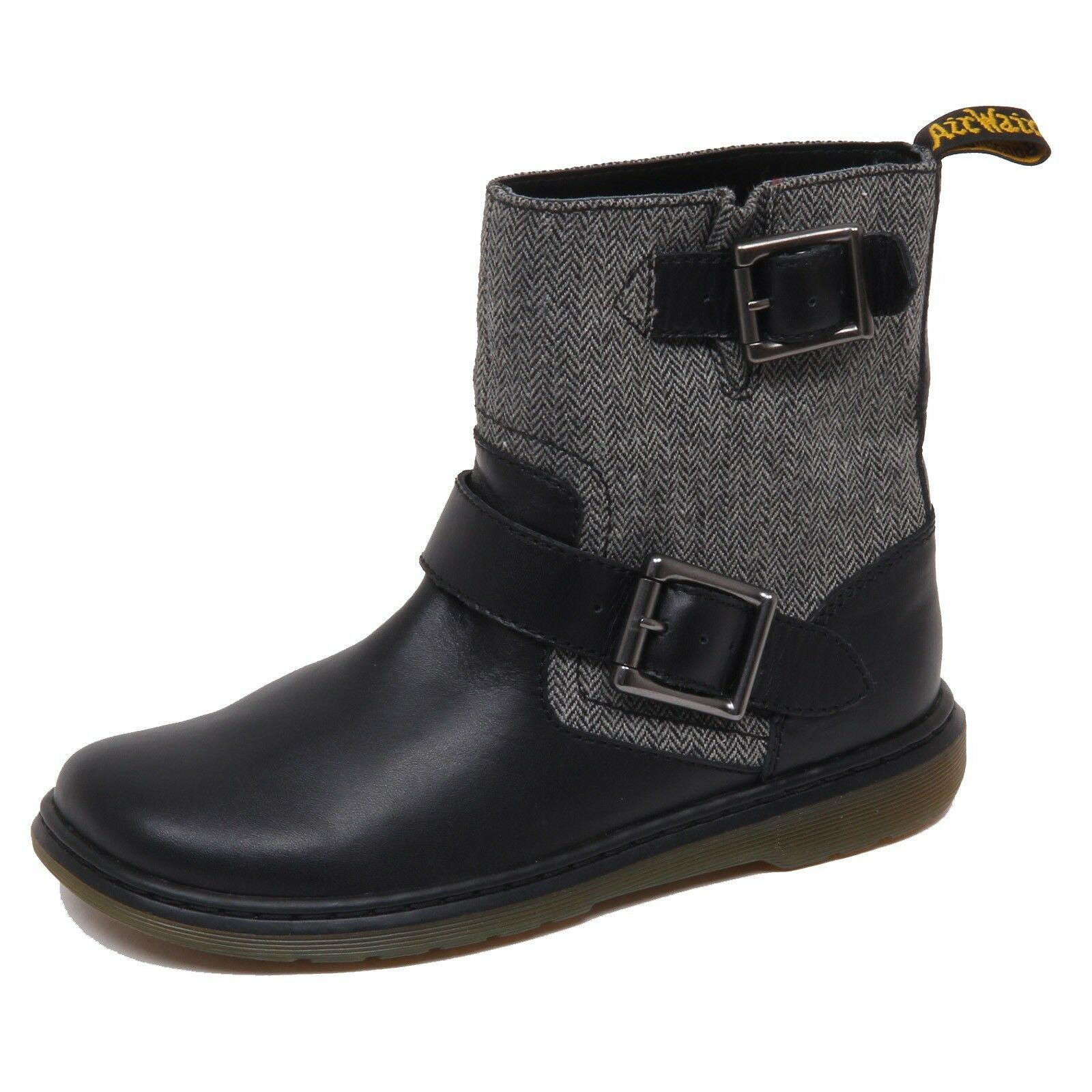 F1550 (NO BOX) stivale donna nero grigio DR. MARTENS tissue leather avvio woman