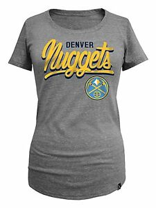 Denver-Nuggets-Shirt-Scoop-Womens-SZ-M-Triblend-Foil-Gold-Letters-NBA-Basketball