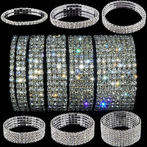 Crystal-Rhinestone-Stretch-Bracelet-Bangle-Wedding-Bridal-Wristband-Lady-Fashion