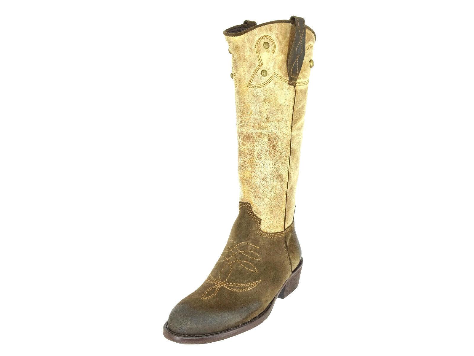 DMN Damen Cowboy Stiefel Mit Nieten Biker Stiefel Westernstiefel Schuhe GR 38