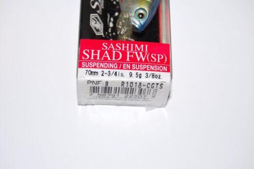 """yo zuri sashimi suspending shad 2 3//4/"""" 3//8oz r1018-cgts chameleon gizzard shad"""
