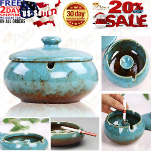 Ceramic Ashtray With Windproof Lid for Indoor Outdoor Use Light Blue