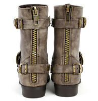 Military Motorcycle Combat Biker Womens Boots Buckle Distressed Zipper Taupe