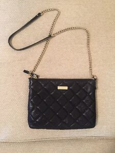12218c70271b Image is loading Kate-Spade-Black-Quilted-Leather-Crossbody-Purse-With-