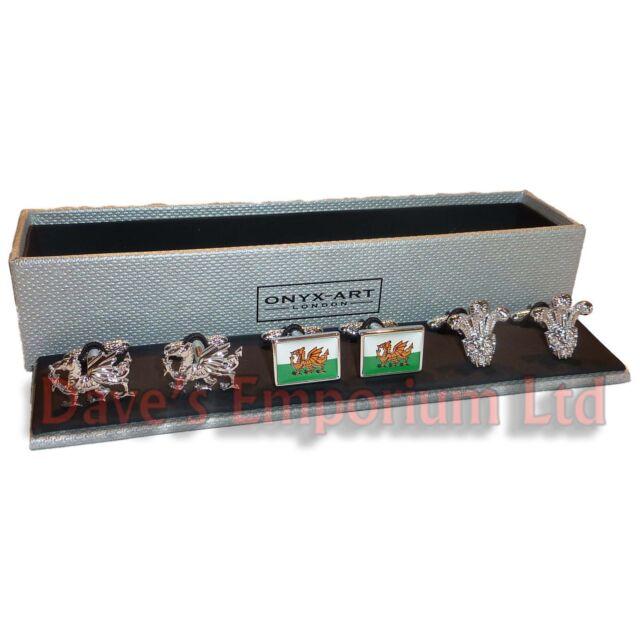 Set of 3 Welsh Cufflinks by Onyx Art - Gift Boxed - Flag Wales Cymru Dragon