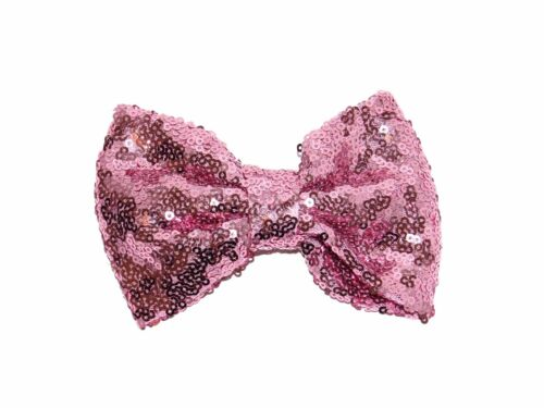 **NEW** BEAUTIFUL LARGE GIRLS SEQUIN HAIR BOW CLIP 12CM BIG BOWS PINK GOLD BOWS